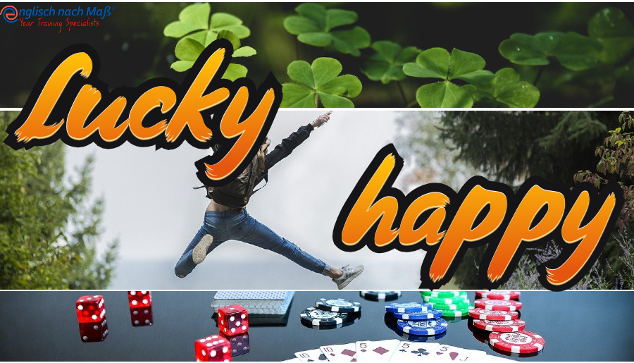 """Feeling lucky today? A look at the difference between """"happy"""" and """"lucky"""". German speakers often confuse """"happiness"""" and """"luck"""" because in German there is one word, """"Glück"""" for both these English words. """"Glück"""" is a noun, the adjective is """"glücklich""""."""